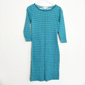 Boden green teal printed long sleeve sweater dress